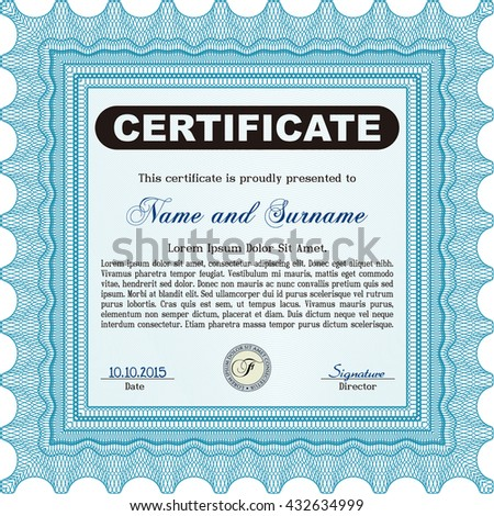 Light blue Certificate template. Nice design. Detailed. Printer friendly.