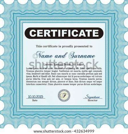Light blue Certificate template. Nice design. Detailed. Printer friendly.