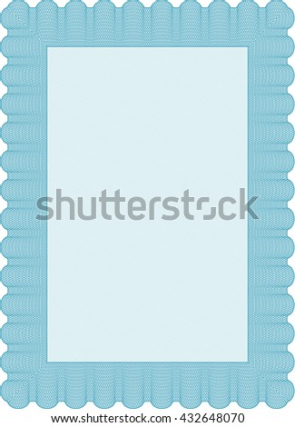 Light blue Certificate template or diploma template. Complex background. Beauty design. Vector pattern that is used in currency and diplomas.