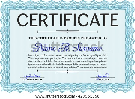 Light blue Certificate template or diploma template. Complex background. Vector pattern that is used in currency and diplomas.Beauty design.