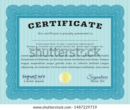 Light blue Certificate template or diploma template. Perfect design. Customizable, Easy to edit and change colors. Printer friendly.