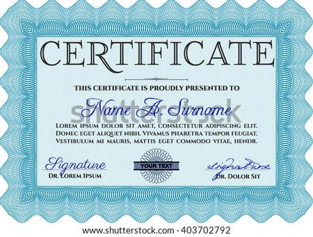 Light blue Certificate template or diploma template. Superior design. Complex background. Vector pattern that is used in currency and diplomas.