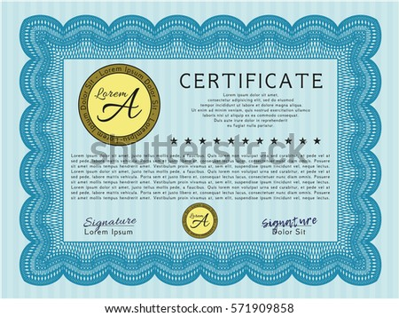 Achievement certificate template with abstract blue shapes light blue certificate template with guilloche pattern money pattern detailed yadclub Gallery