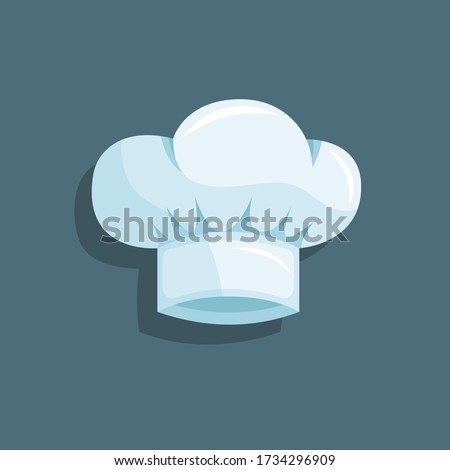 Light blue chef hat. White isolated cook's cap with a small shadow on a grey background. Stock vector. Flat cartoon illustration.  Stock fotó ©