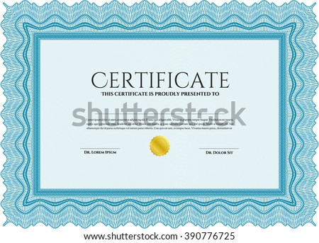 Light blue Classic Certificate or Diploma template. Money Pattern design.