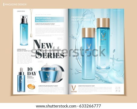 light blue color cosmetic catalog or magazine template design for commercial uses, 3d illustration