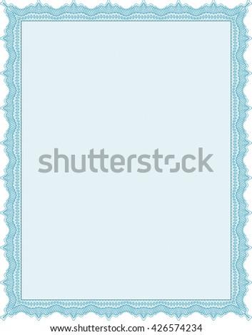 Light blue Diploma. Good design. Border, frame. With background.