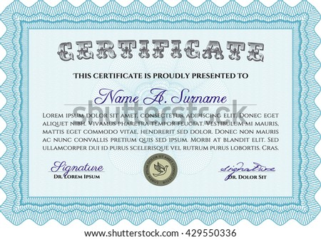Light blue Diploma or certificate template. Complex background. Vector pattern that is used in currency and diplomas.Superior design.