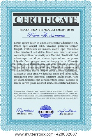 Light blue Diploma or certificate template. Lovely design. Vector illustration. With complex background.