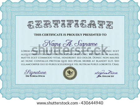 Light blue Diploma or certificate template. Superior design. Complex background. Vector pattern that is used in currency and diplomas.