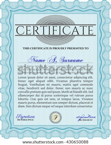 Light blue Diploma or certificate template. With complex background. Lovely design. Vector illustration.