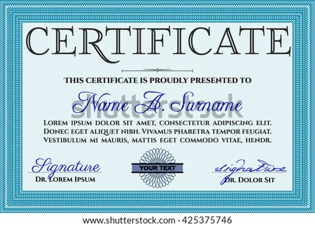 Light blue Diploma template. Excellent design. Vector illustration. With complex background.