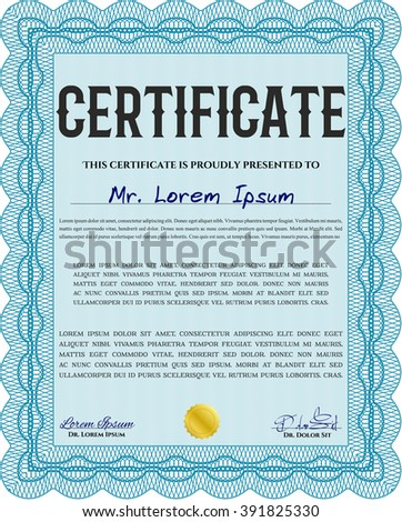 Light blue Diploma template or certificate template. Artistry design. Vector pattern that is used in money and certificate. With quality background.