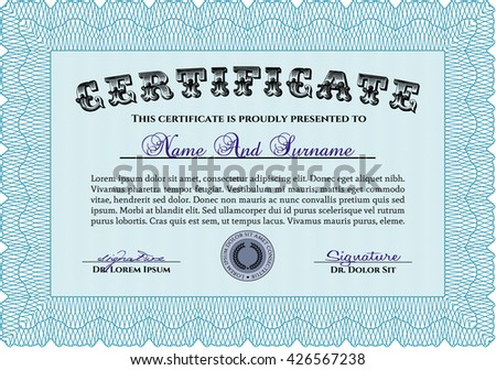Light blue Diploma template or certificate template. Beauty design. With quality background. Vector pattern that is used in money and certificate.