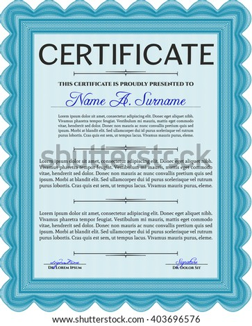 Light blue Diploma template or certificate template. Vector pattern that is used in money and certificate. With quality background. Beauty design.