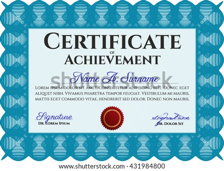 Light blue Diploma template or certificate template. Vector pattern that is used in money and certificate. With quality background. Artistry design.