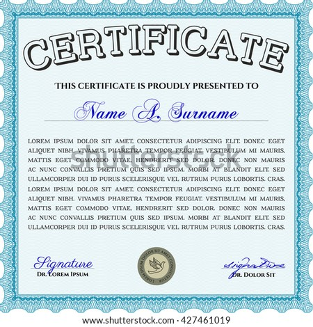 Light blue Diploma template or certificate template. With quality background. Vector pattern that is used in money and certificate. Beauty design.