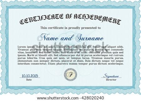 Light blue Diploma. With background. Border, frame. Excellent design.