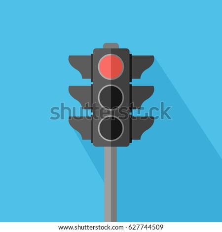 light blue flat design style background with a one single stoplight Vector isolated & red symbol icon in the top. stop and halt for transportation or business. buttons in traffic light sign & shadow