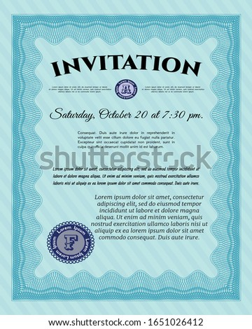 Light blue Formal invitation. Modern design. Complex background. Customizable, Easy to edit and change colors.