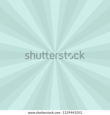 light blue green sunburst background design with pastel colors in an abstract striped pattern and retro groovy style