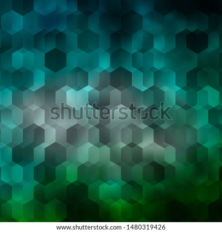 Light Blue, Green vector background with set of hexagons. Colorful hexagons on blur backdrop. Design for website posters, banners.