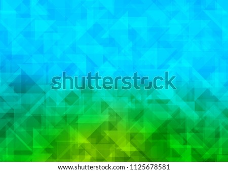 Light Blue, Green vector hexagon mosaic triangle mosaic. Triangular geometric sample with gradient.  A completely new template for your business design.