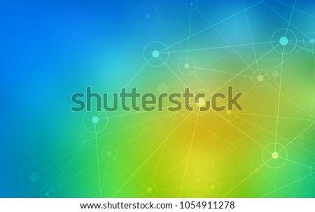Light Blue, Green vector layout with circles, lines. Decorative design in abstract style with triangle structure. Pattern can be used for futuristic ad, booklets.