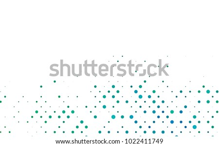 Light Blue, Green vector modern geometrical circle abstract background. Dotted texture template. Geometric pattern in halftone style with gradient.
