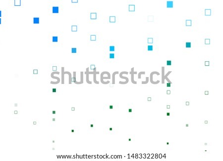 Light Blue, Green vector pattern with crystals, rectangles. Rectangles on abstract background with colorful gradient. Smart design for your business advert.