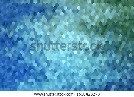 Light Blue, Green vector texture with colorful hexagons. Colorful hexagons on blur backdrop. Pattern for landing pages.