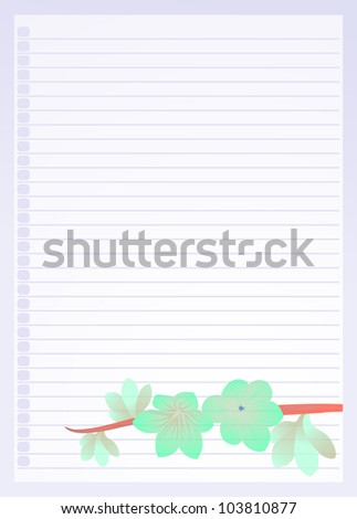 light blue line paper ornamented with green flower