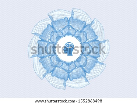 Light blue linear rosette with head with gears inside icon inside