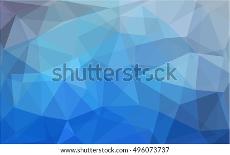 Light blue low poly pattern. A vague abstract illustration with gradient. The best triangular design for your business.