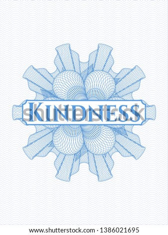 Light blue money style rosette with text Kindness inside