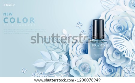 Light blue nail lacquer ads with flowers paper art decors in 3d illustration