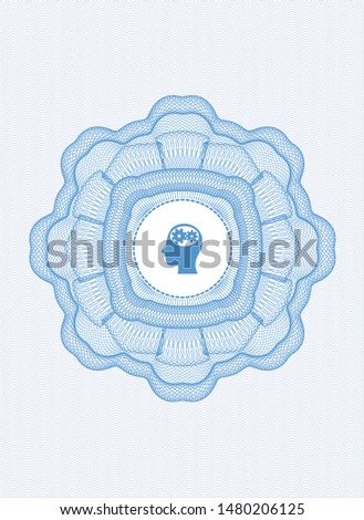 Light blue passport money style rosette with head with gears inside icon inside