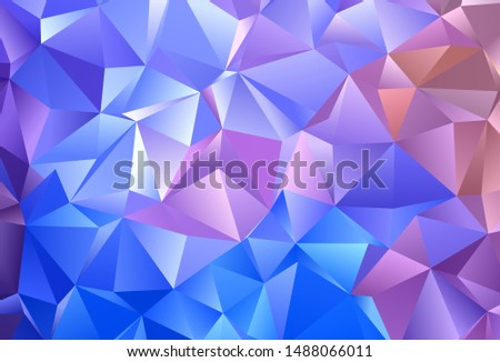 Light Blue, Red vector backdrop with lines, triangles. Triangles on abstract background with colorful gradient. Smart design for your adverts.