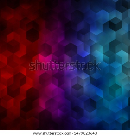 Light Blue, Red vector pattern with colorful hexagons. Colorful hexagons on blur backdrop. Design for website posters, banners.