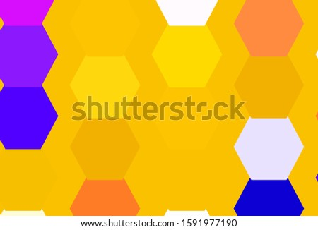 Light Blue, Red vector texture with colorful hexagons. Colorful hexagons on blur backdrop. Pattern for landing pages.