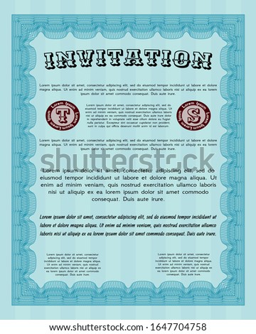 Light blue Retro invitation. Customizable, Easy to edit and change colors. Complex background. Nice design.