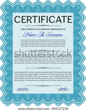 Light blue Sample Diploma. Frame certificate template Vector. Modern design. With linear background.