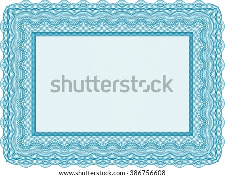 Light blue Sample Diploma. Frame certificate template Vector. With linear background. Elegant design.
