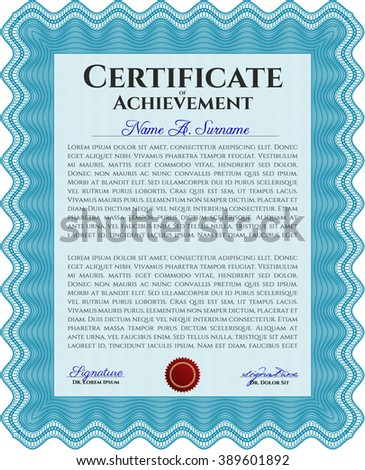 Light blue Sample Diploma. With linear background. Frame certificate template Vector. Modern design.