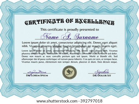 Light blue Sample Diploma. With linear background. Modern design. Frame certificate template Vector.