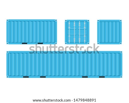 Light blue Shipping Cargo Container for Logistics and Transportation Isolated On White Background Vector Illustration