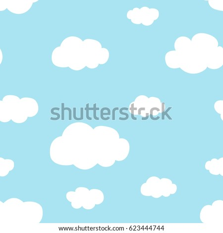light blue sky white clouds pattern seamless vector
