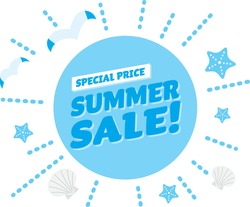 Light blue title design of the summer sale
