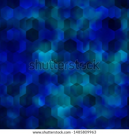Light BLUE vector background with set of hexagons. Colorful hexagons on blur backdrop. Pattern for your ad, booklets.