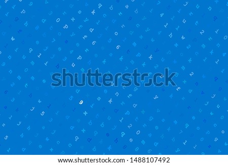 Light BLUE vector background with signs of alphabet. Colored alphabet signs with gradient on white background. Smart design for promotion of university.